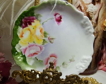 "ANTIQUE, Artist Signed, R. C. Bavaria Pensee Burgundy,Yellow and Pink Roses 6 1/4"" Plates circa 1891-1904"