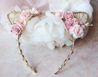 Light pink and gold floral crown Blush pink and gold headband Flower girl headband Flowergirl headband Bridesmaid headband Cat ears headband