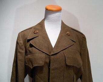 Post WWII to Korean War Era Eisenhower Jacket Wool US Army Armored Cavalry, 38R, March 1951