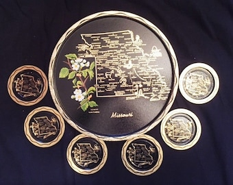 Missouri souvenir tin serving tray and 6 coasters