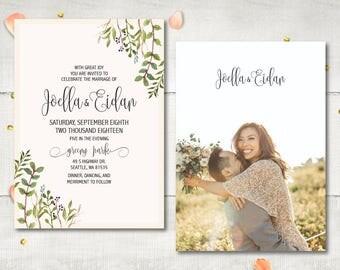 Photo Wedding Invitation and RSVP - Joella Greenary Foliage Leaves Personalized Suite