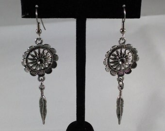 Flower and feather earrings