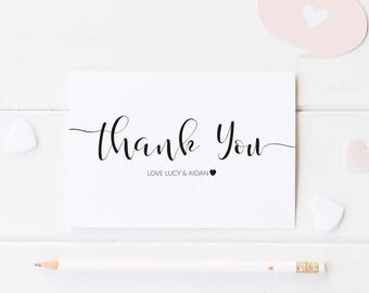 Elegant Script Wedding Thank You Note Card Packs, Thank You Cards
