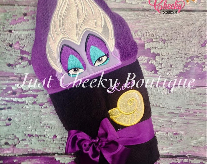 Sea Witch Inspired Hooded Towel - Ursula - The Little Mermaid - Disney Princess Party  - Under the Sea - Mermaid Party