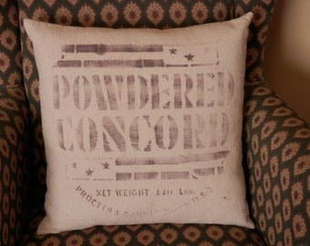"Powdered Concord 16"" Feedsack Pillow"