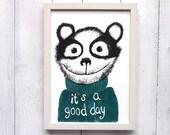 good day Riso Druck DinA4 Lächeln Gute Laune Aufmunterung Poster Kinderzimmer Wohnzimmer Schlafzimmer