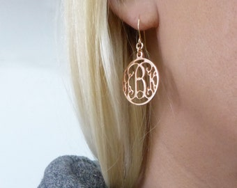 "Initial earrings Monogram dangle earrings. Rose gold monogram earrings. 0.8"" monogram earrings. Personalized earrings. Monogram jewelry."