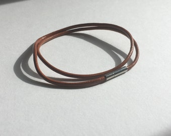 Light Brown Leather Double Wrap Bracelet