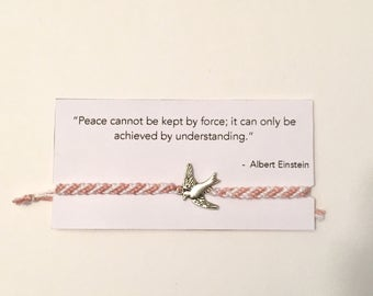 Friendship Bracelet Card - Peace Dove Charm-  Einstein Quote - Pink and White