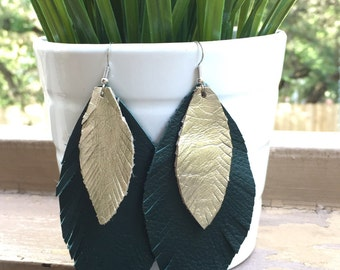 Green Leather Feather Earrings with gold feather layer