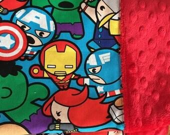 Minky Baby Blanket - superheroes bedding - marvel baby blanket - thor - captain america