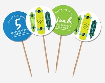 Skateboard Cupcake Toppers (Personalised DIY Printables)