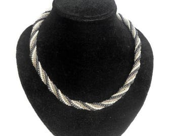 Bead woven Jewelry necklace Seed bead Choker spiral necklace