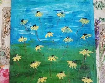Yellow Daisy Field Painting