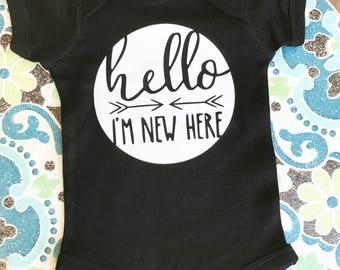 Baby onesie hello I'm new here black onsie newborn onsie