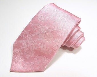 Silk Tie with Tickled Pink and White Paisleys
