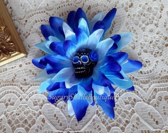 Day of the Dead, Sugar Skull Makeup, Accessory, Dia de los Muertos, Hair Clip Flower, Blue with Rose, Halloween Costume