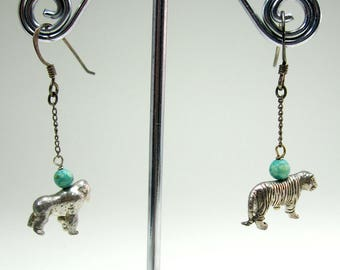 Vintage sterling silver tiger gorilla and turquoise beads  earrings