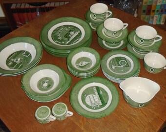 44pc 1950 ROYAL Colonial Homestead Green Dish Set