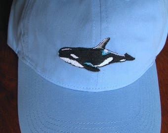 Orca Whale Embroidered on Blue Baseball Cap