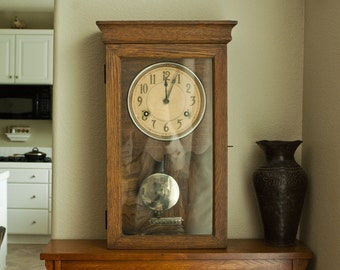 Antique Craftsman Era Time Clock from California Department of Agriculture, 1900s Arts and Crafts Mission Style Clock Cast Iron Movement
