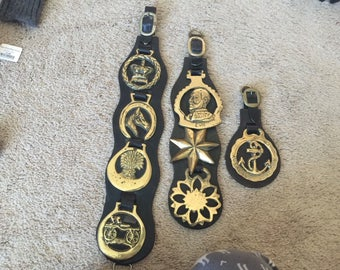 8 Brass Horse Equestrian Harness Tack Medallions on 3 Leather Straps