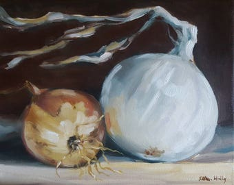 Two Onions- Original Oil Painting Still Life Study- Yellow and White Onions- Kitchen Food Art- Small Minimalist Painting