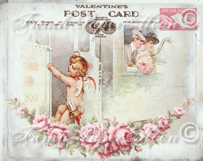 Vintage Digital Valentine Postcard with Cherub and Roses, Romantic Shabby Chic Valentine Pillow Transfer Graphic Print