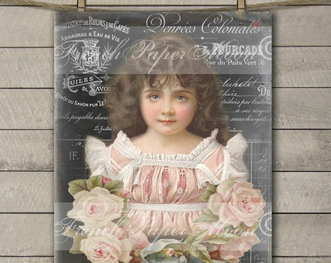 Shabby Digital Victorian Girl with Rose Wreath and French Graphics,  Instant Download French Pillow Transfer Image