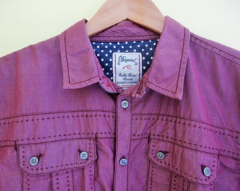 "1990's, ""Request Jeans"" , Quality Treated Gament, Plum/Marroon, Women's Oxford Shirt"