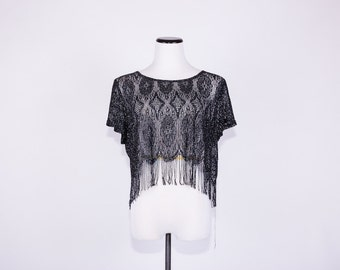 90's Black Metallic Lace Fringe Blouse