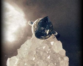 Phantom Quartz Ring With Silver Adjustable Band and Pyrite Setting Handmade Black Shadow Double Terminated Quartz pq2