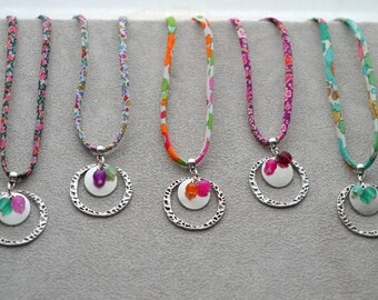 necklaces Liberty, composed of pearls in glass, Crystal, agate, adjustable