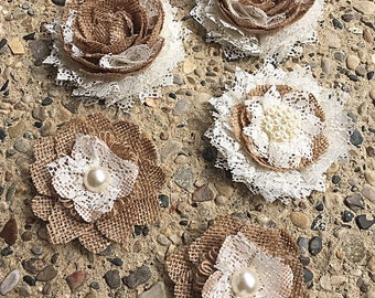 Rustic Burlap, Lace, and Pearl Flowers For Wedding Cake, Set of 5 by Thimbleful Threads