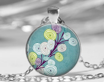 Blue Swirl Bird Tree Art Photo Pendant Blossoms Necklace or Key Chain Altered Art Jewelry