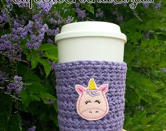 Crochet coffee cup cozy, with a Unicorn feltie, made with 100% cotton. Crochet coffee sleeve, crochet coffee cozie