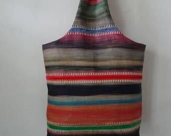 Colourful Striped Embroidered Linen Handbag