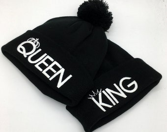 TWO Beanie hats for an unbelievable price! King & Queen winter hats for couples, lovers and friends. Both embroidered caps for one price