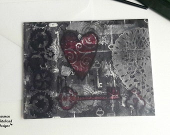 Steampunk cards, Key to my heart, 5 pack of cards , blank note cards, cards for teens, all occasion cards, best friend cards