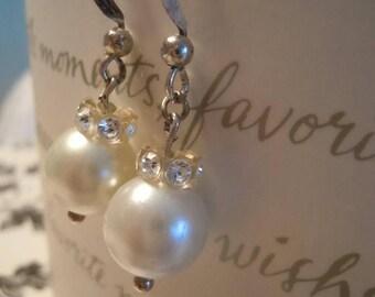Earrings, Swarovski, Pearl Drop Earrings, Classic, Wedding Earrings, Bridal Jewelry, Wedding