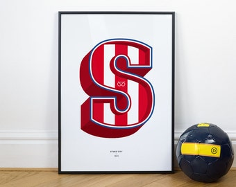 S is for Stoke City, Football Typography Print