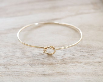 Gold knot bangle, gold knot cuff, love knot, friendship bracelet, knot bangle, gold knot jewelry, minimalist bangle, dainty bracelet