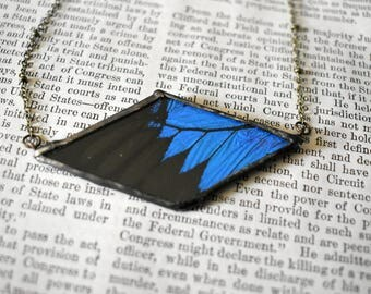 Real Butterfly Jewelry Butterfly Wing Necklace Boho Jewelry Soldered Pendant Gift For her Gypsy Necklace Black and Blue Necklace Macabre