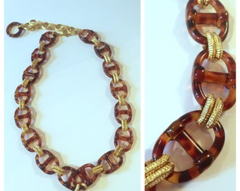 Chunky Vintage 1970's Statement Necklace, Tort