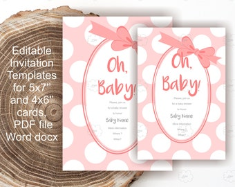 Peach Pink Invitation Baby Girl Shower - editable text - polka dot invites template - blank DIY invitation to download
