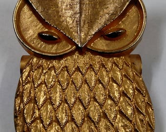 Vintage Retro Brass look Owl paper clip. Boston Clip #2, Hunt Mfg. Co. 1970s desk office accessory.