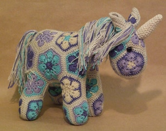 Custom Handmade African Flower Crochet Unicorn