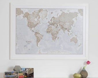 Neutral Map Of The World Art Print - Home decor, bedroom, gift, living room, large world map, travel map, map art, vintage