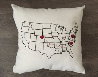 A Little Hometown Charm Pillows  Home Decor By NickiDetwiler - Us map pillow personalized
