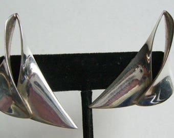 Ron Pearson Vintage Modernist Sterling Screw Back Women's Earrings
